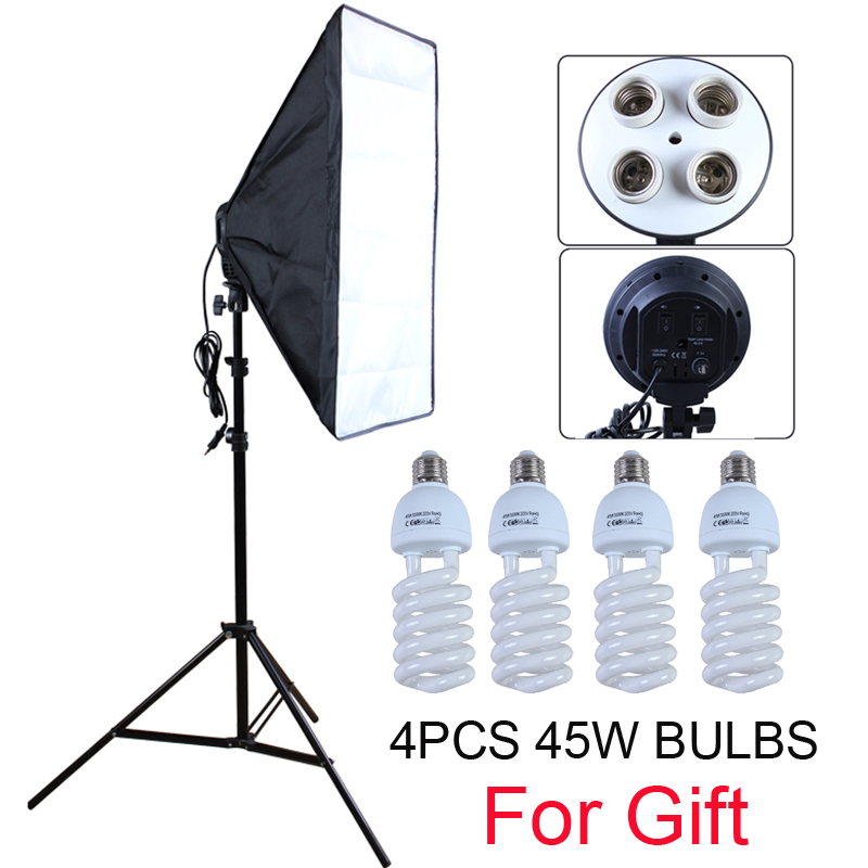 Photo Studio Diffuser 50 70cm Softbox E27 4 Lamp Holder Continuous Lighting Soft Box Kit include Light Stand with 45w Bulbs
