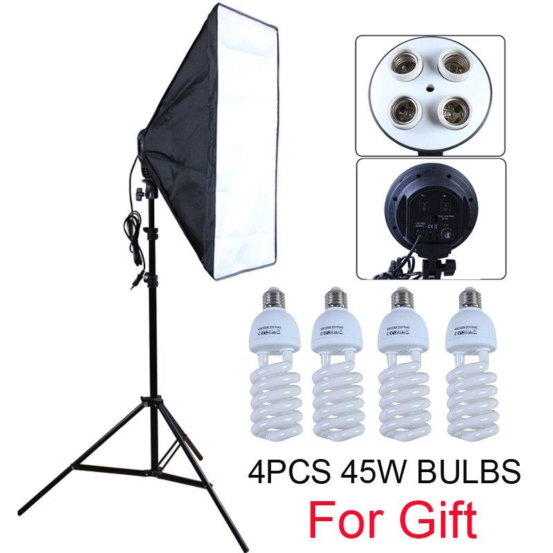 Photo Studio Diffuseur 100-240 v Softbox 4-Lampe-Titulaire Socket Avec 50*70 cm Continue éclairage comprend pied de projecteur avec 45 w Ampoules