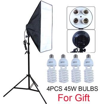 Difusor de estudio fotográfico 50*70cm Softbox E27 4 portalámparas iluminación continua caja suave Kit incluye soporte de luz con bombillas de 45w