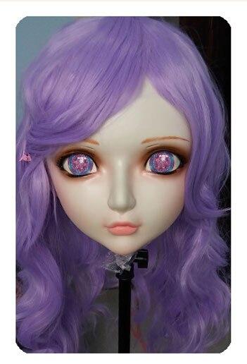 gl030 Women/girl Sweet Resin Half Head Kigurumi Bjd Mask Cosplay Japanese Anime Lifelike Lolita Mask Crossdressing Sex Doll Lovely
