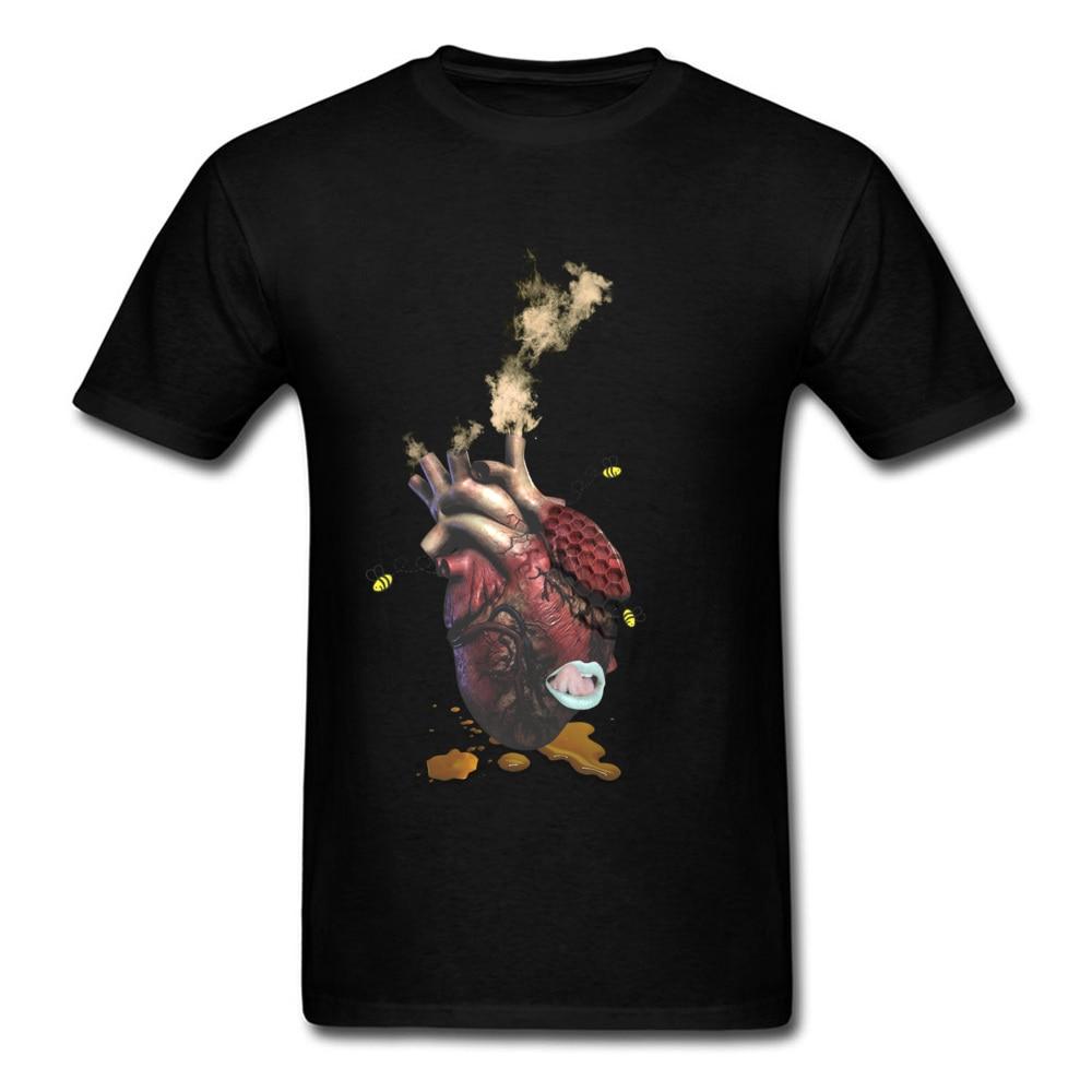 Creative T Shirts Sweet Heart Design Tshirt For Men Father Day Cotton Crew Neck Men T Shirt Normal Tee-Shirt Popular Top T-shirt