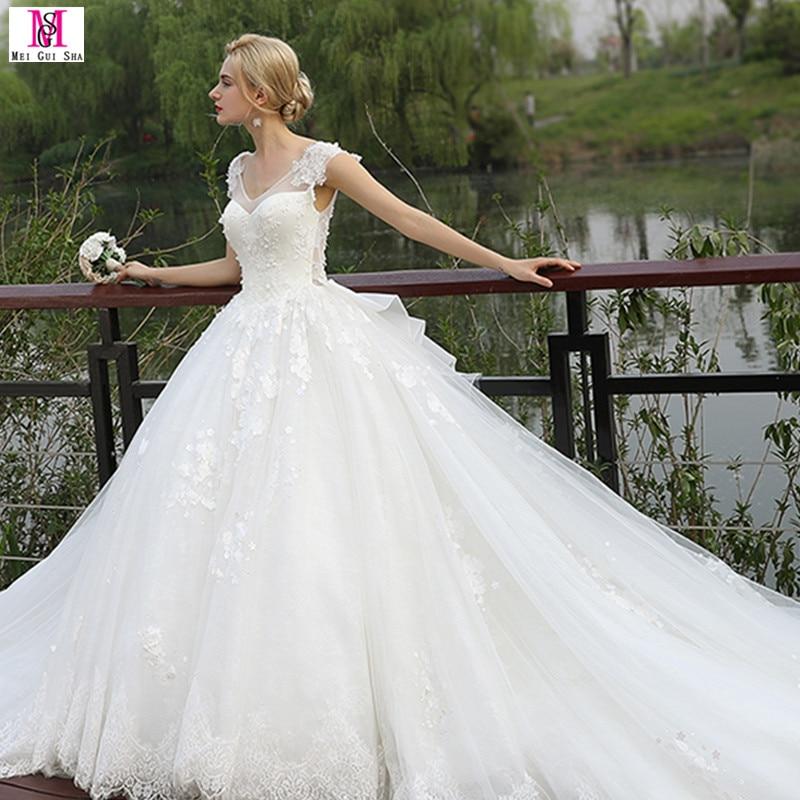 2017 Wedding Dresses Real Photo Cap Sleeve Princess