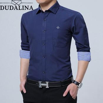 26bdb30d426 Dudalina мужская рубашка 2019 с длинным рукавом формальная Мужская рубашка  в деловом стиле Slim Fit дизайнерское платье рубашка мужская повседневна.