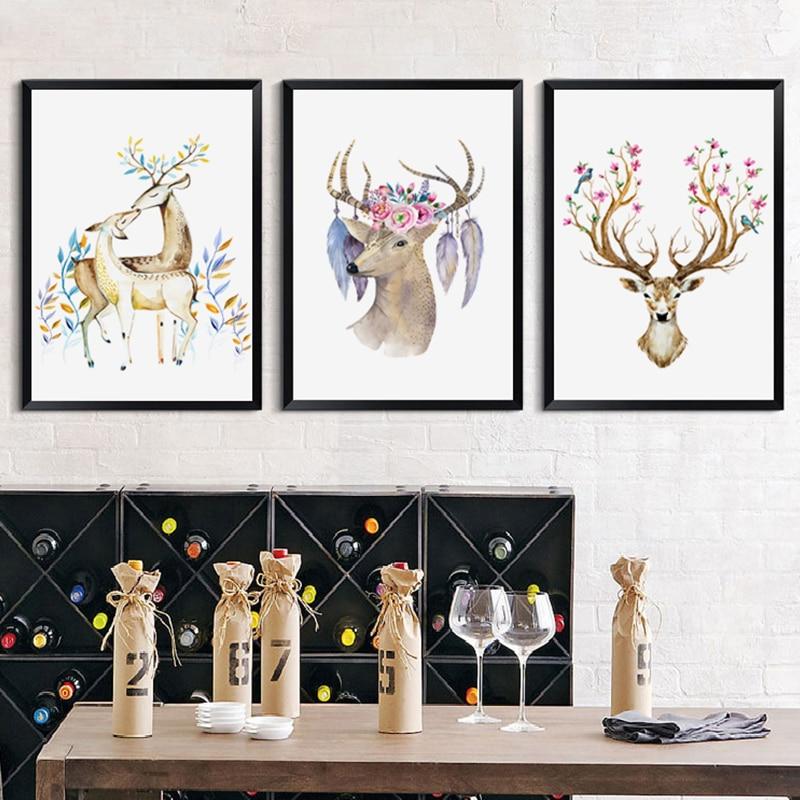 Elegante poesía acuarela ciervo y flor pájaro lienzo pintura digital arte impresión cartel imagen mural hogar dormitorio decoración