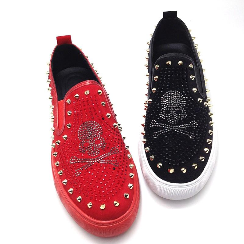 Slip On Skull Men Loafers Black Red Bling Bling Rhinestones Spikes Men Shoes Rivets Casual Flats Sneakers 3#15D50