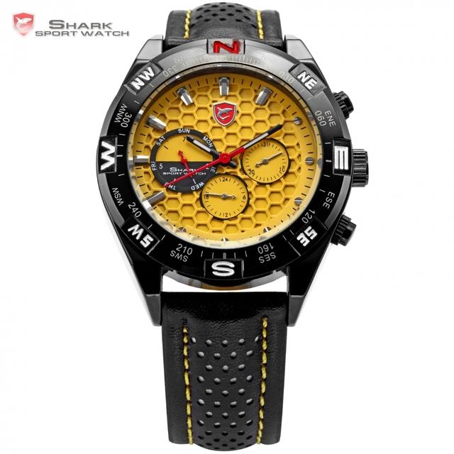 Shortfin shark sport watch data dia inoxidável preto estojo de couro cinta banda amarelo quartzo analógico relógio dos homens relógio de pulso/sh083