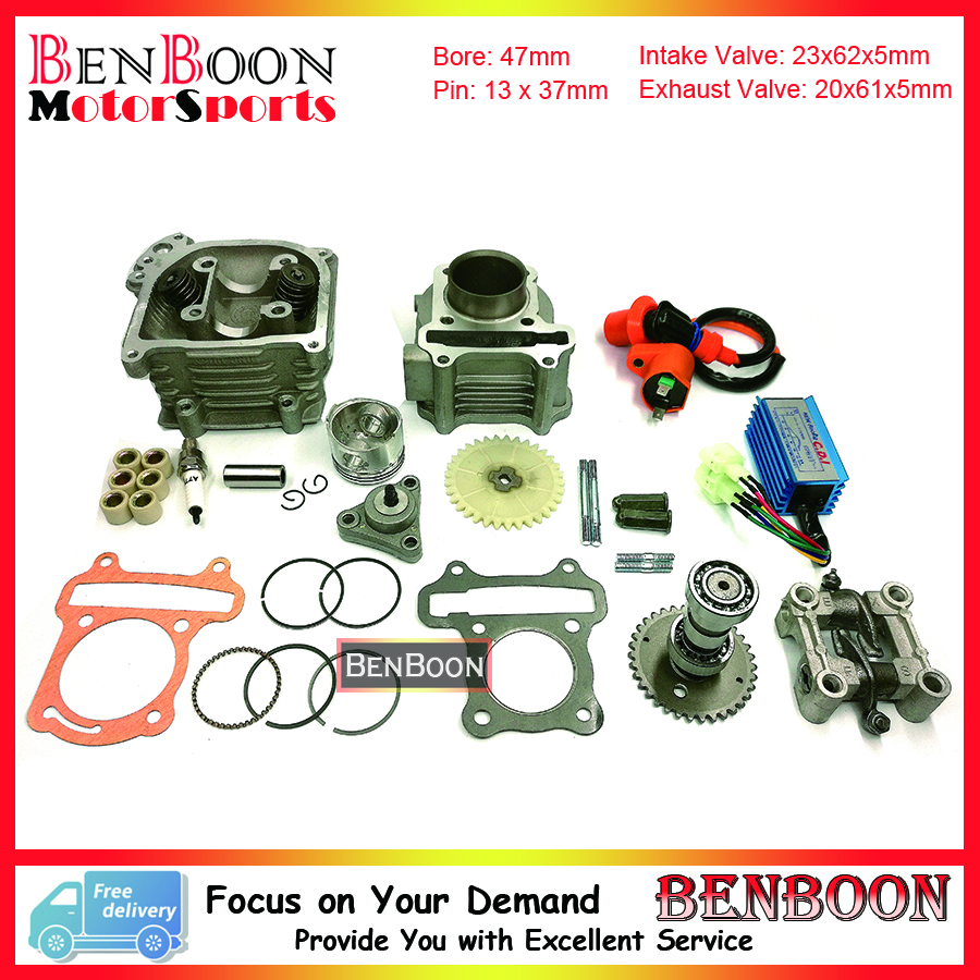 GY6 80cc 47mm Big Valve Cylinder & Head Kit with Spark Plug Racing CDI and other accessories Znen Roketa Baotian Free Shipping gy6 80cc 47mm cylinder kit