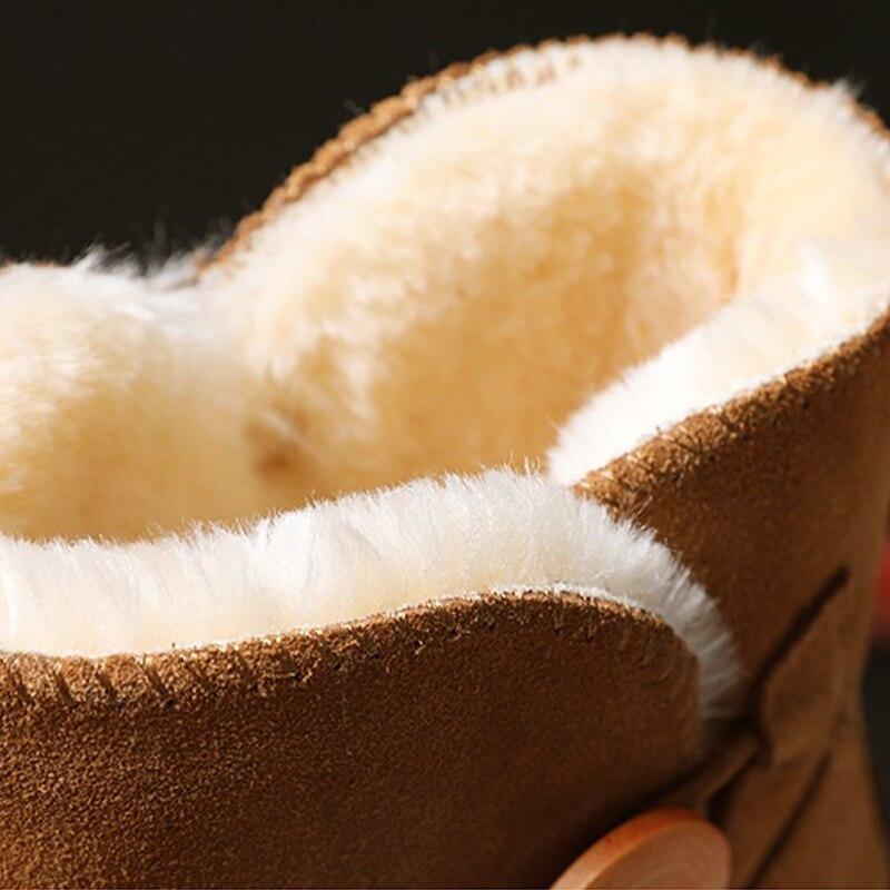Véritable Mode Cuir En Noir Chaudes marron orange Neige De Filles Femmes Chaussures gris Pour Bottes D'hiver qXxfXprt7w