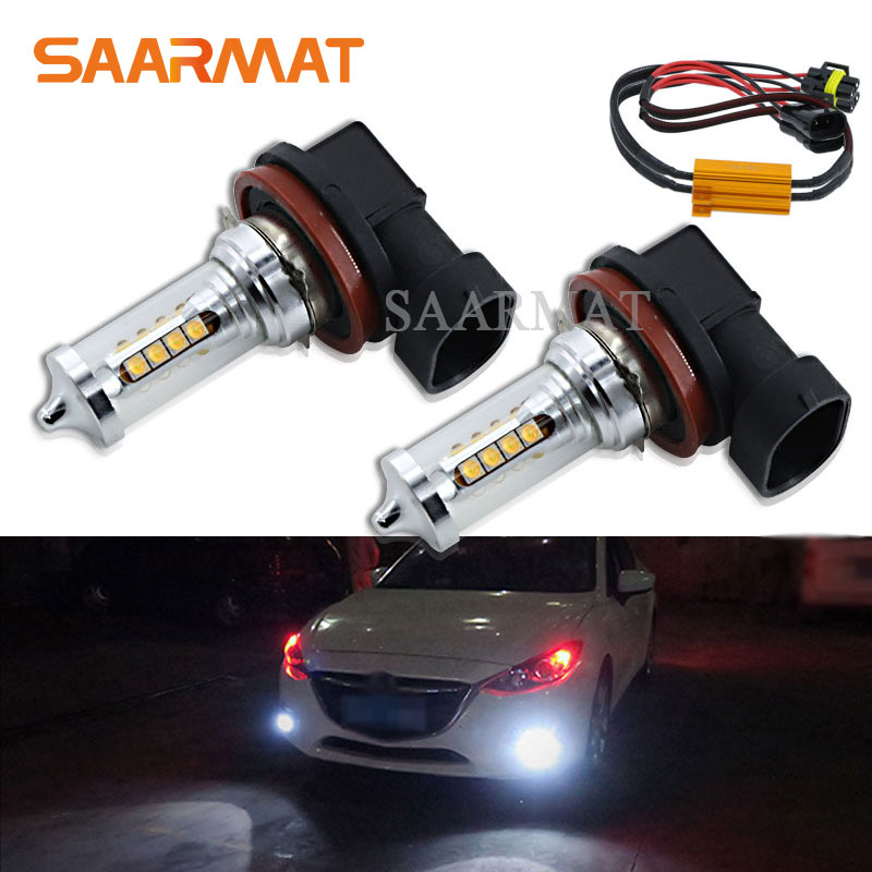 2Pcs H8 H9 H11 H16(JP) 2000LM Canbus LED Fog Light Driving Lamp DRL Daytime Running Light For Mercedes W211 W212 W164 W221