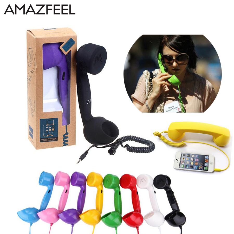 NEW Pop Mobile phone telephone receiver headset 3.5mm Retro Comfort telephone Handset for cell phone iphone xiaomi 2018 new retro telephone 3 5mm comfort mini mic speaker telephone handset radiation proof phone call receiver for iphone samsung