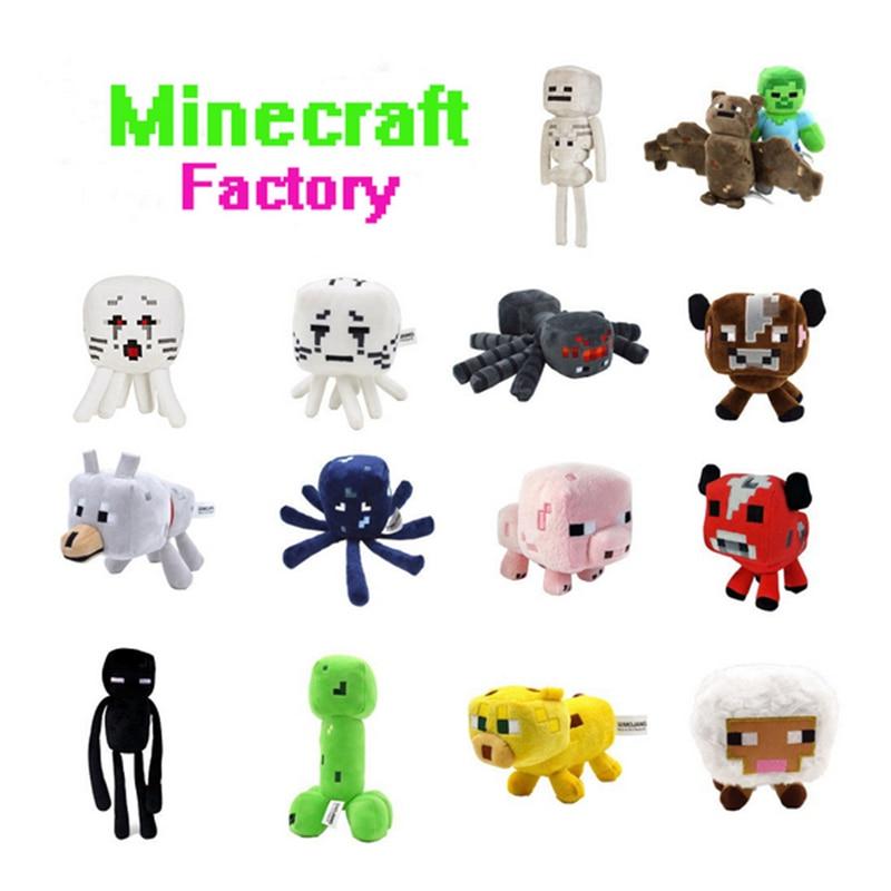 15 Estilos 16-26 cm Brinquedos de Pelúcia Minecraft Creeper Enderman Minecraft Steve Zombie Lobo Sketelon Aranha de Pelúcia Brinquedos de Pelúcia para As Crianças