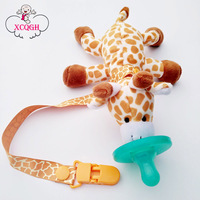 2Pcs Giraffe Pacifier Silicone And Pacifier Chain Holder For Nipples Funny Baby Soother Holder BPA Free
