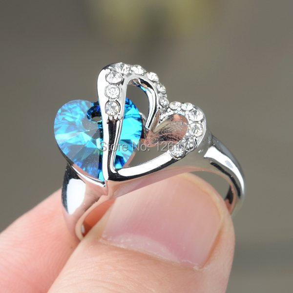 brand heart blue sapphire crystal ring white gold plated love heart austrian crystal wedding rings for women girl wholesale in rings from jewelry - Girl Wedding Rings