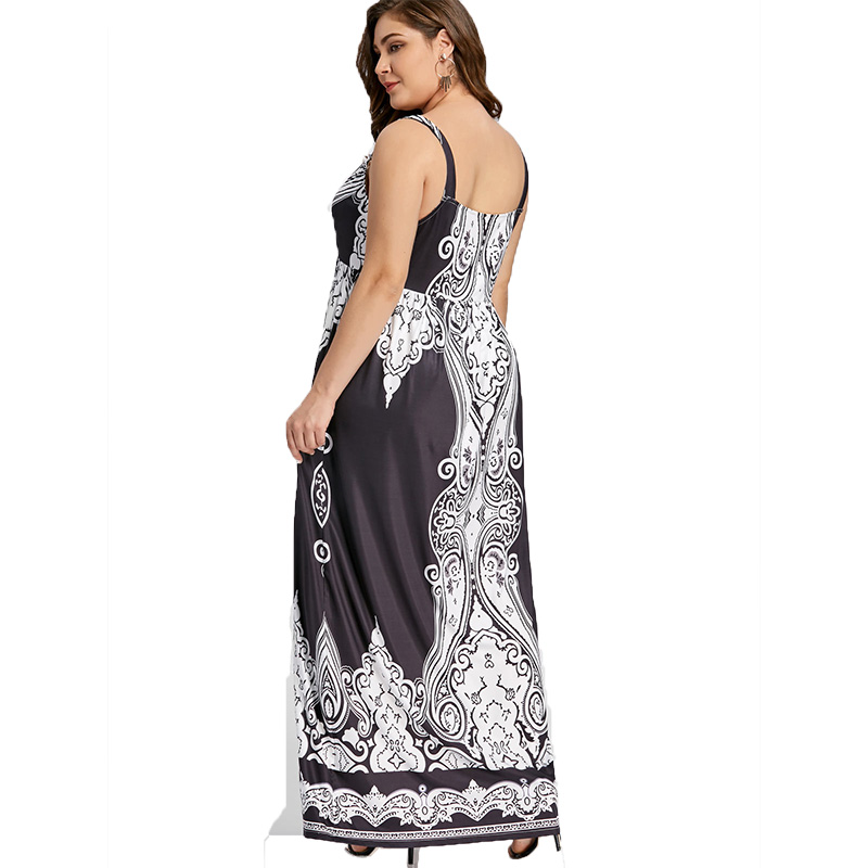ROSE GAL Plus Size 5XL Arab Print Spaghetti Strap Boho Maxi Long Dress Women Big Size Sleeveless Ethnic Beach Dress Summer in Dresses from Women 39 s Clothing