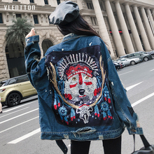 2019 New fashion Jean jacket Casual Sequins long denim Long sleeve women Spring autumn Pattern sequined coat