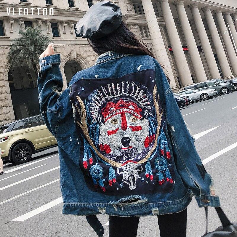 2019 Nouvelle mode veste en Jean décontracté Paillettes longue veste en Jean à manches Longues veste femmes Printemps automne Motif paillettes manteau