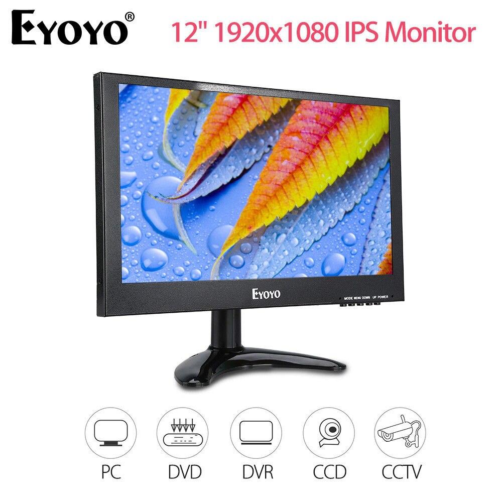 EYOYO 12 TFT-IPS Monitor 1920x1080 BNC VGA AV USB HD Video Input With Remote Control 400cd/m2 For PC CCTV DVR Security Camera