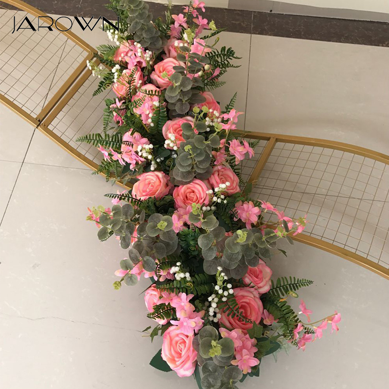 JAROWN Wedding Props Pre function Area 100cm Flower Row Road Lead Party Arrangement Scene DIY Silk