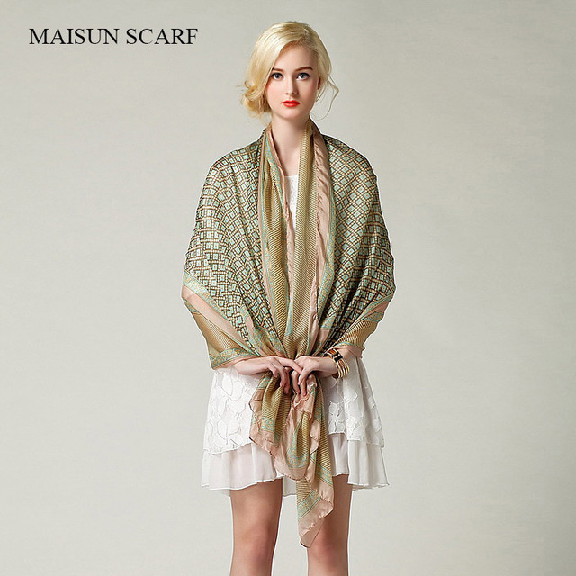 2016 Maisun New Style Shawl Brand Tartan Design Silk Scarf 180x110cm Big Size Hijab Fashion Silk Scarves For Women