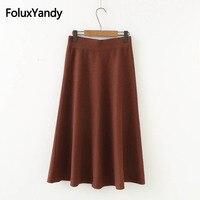 Korean Style Solid Knitting Skirt A line Loose Mid Calf Autumn Winter Skirts Plus Size XXXL Brown Gray Black SWM1158