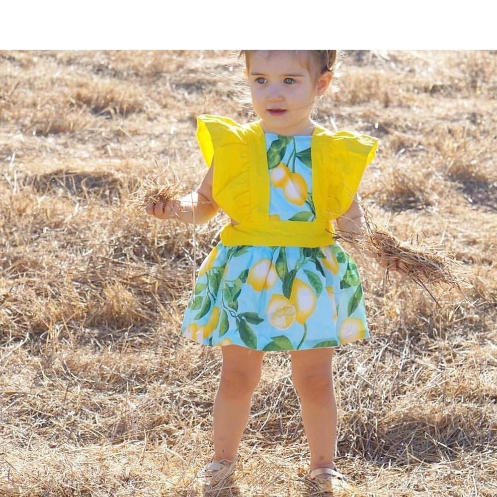 ARLONEET Blue Fashion Toddler Baby Kids Girls Lemon Print Flying Sleeve Princess Dress Clothes Outfits Vestido Infantil H30