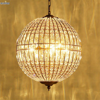 Vintage American Crystal LED Pendant Lights for Dining Room Restaurant Kitchen Cafe Bar Hanging Pendants Lamp