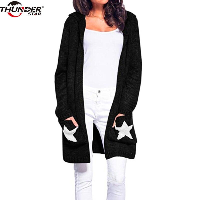Tricoté à capuchon long pull cardigan femme Casual poches lâche automne manteau 2018 Hiver sexy étoiles femmes outwear