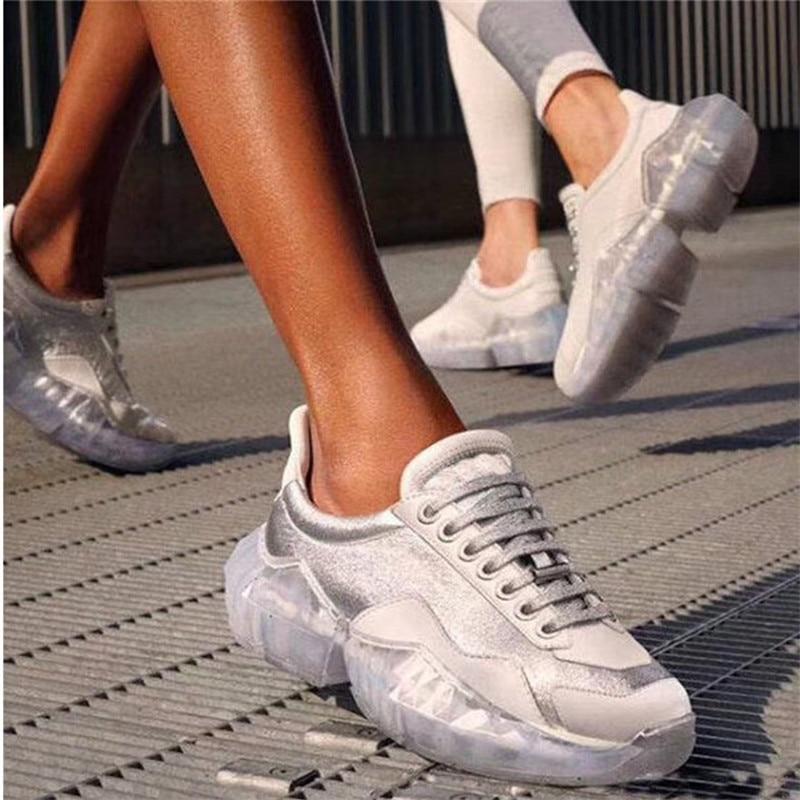 a5c1166f Tenis Pic Imitación Fondo Casuales Diamantes As as Plata Pic Grueso  Transparente Mujer Plataforma Zapatillas De ...