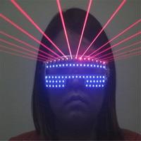 RE05 Party dance stage wears RGB colorful led glasses dj red laser light glasses robot men performance laser projector led props