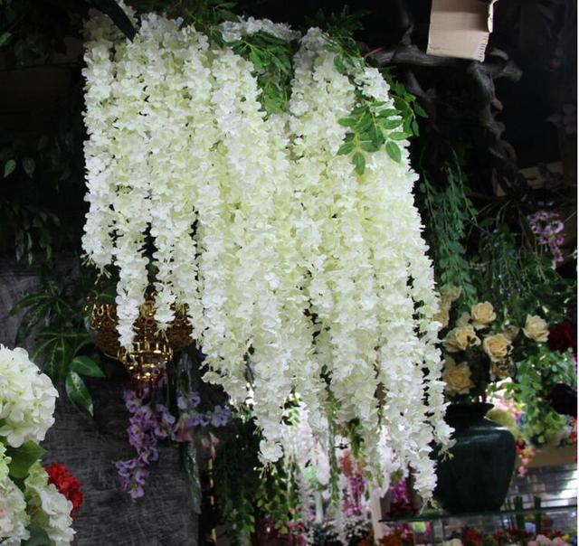 120pcs Lot 165cm White Artificial Silk Hydrangea Flower Wisteria Vine Garland Hanging Ornament For Home