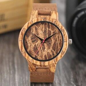 Image 2 - Relojes creativos simples de madera para hombre, reloj masculino Original de madera de bambú con estampado de hojas rotas y recortes de corcho, 2020