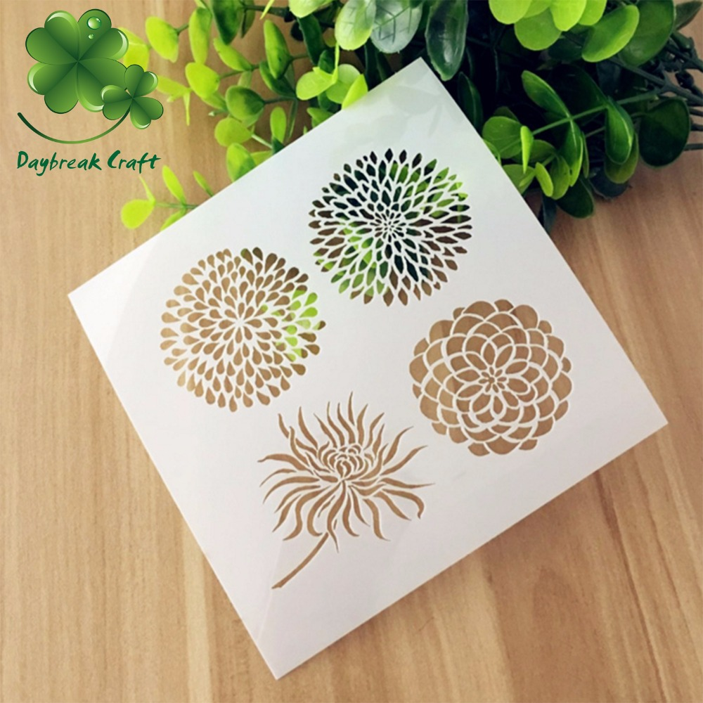 (5.1x5.1 inch) chrysanthemum Scrapbook Plastic Stencil , DIY inks and paints imprint PET spray mists template canoeing recreational stencil 22 inch 60 mil ultraflex ind