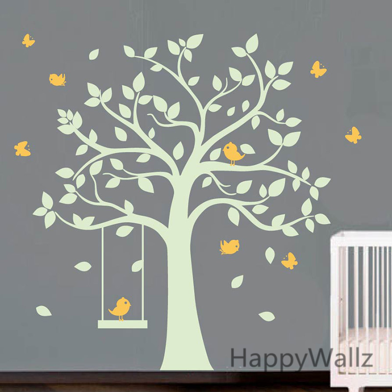 baby nursery tree wall sticker birds swing tree wall decals kids
