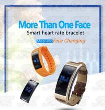K18 сердечного ритма умный Браслет IP67 OLED Bluetooth 4.0 120 мАч шагомер режим сна трекер кожаный ремешок + силиконовая
