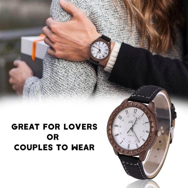 1/2 Pcs New Vintage Leisure Lovers Pair Watches Hot Sale Imitation Wood Men Women Couple Dress Quartz Wristwatch kol saati 1