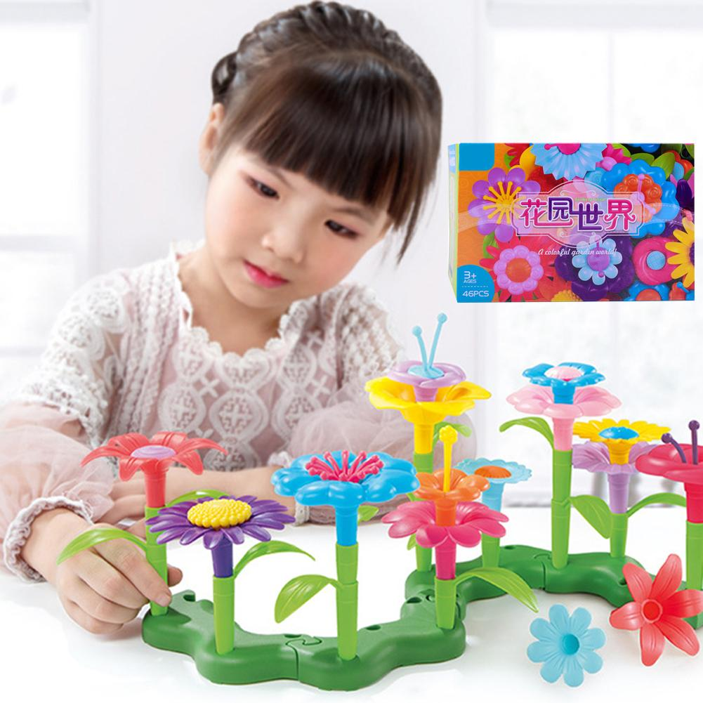 46Pcs/Set DIY Colorful Flower Garden Building Blocks Developmental Kids Toy