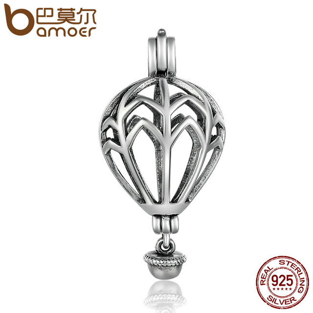 Bamoer Hot 925 Sterling Silver Air Balloon Cage Pendant Fit Chain Necklaces For Women Authentic