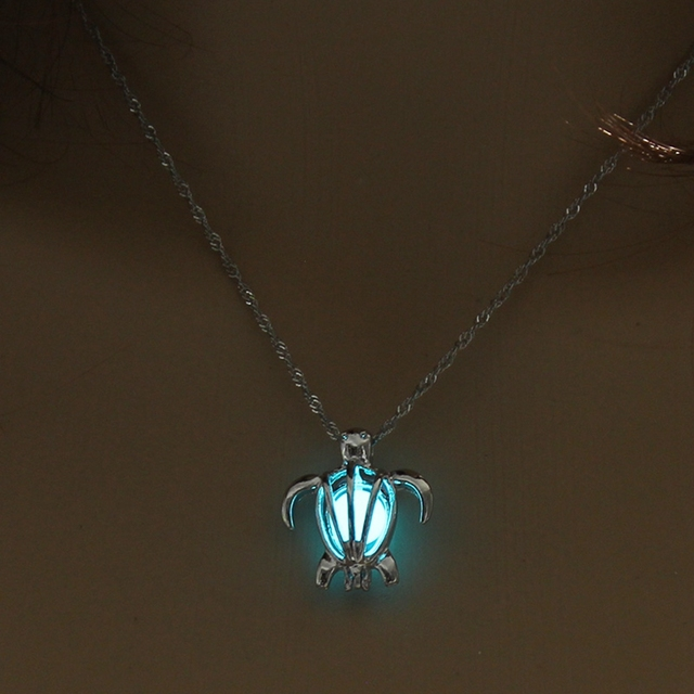 Fashion Jewelry Vintage Silver Color Chain Hollow Turtle Pendant Necklace Glowing In The Night Luminous For Women Necklace 1