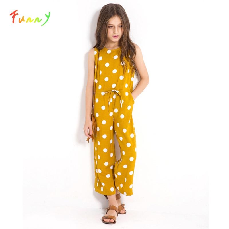 Polka Dot Drawstring Waist Casual Girls Jumpsuit Kids 2019 Summer Sleeveless Wide Leg Kids Jumpsuits 6 8 10 12 Years