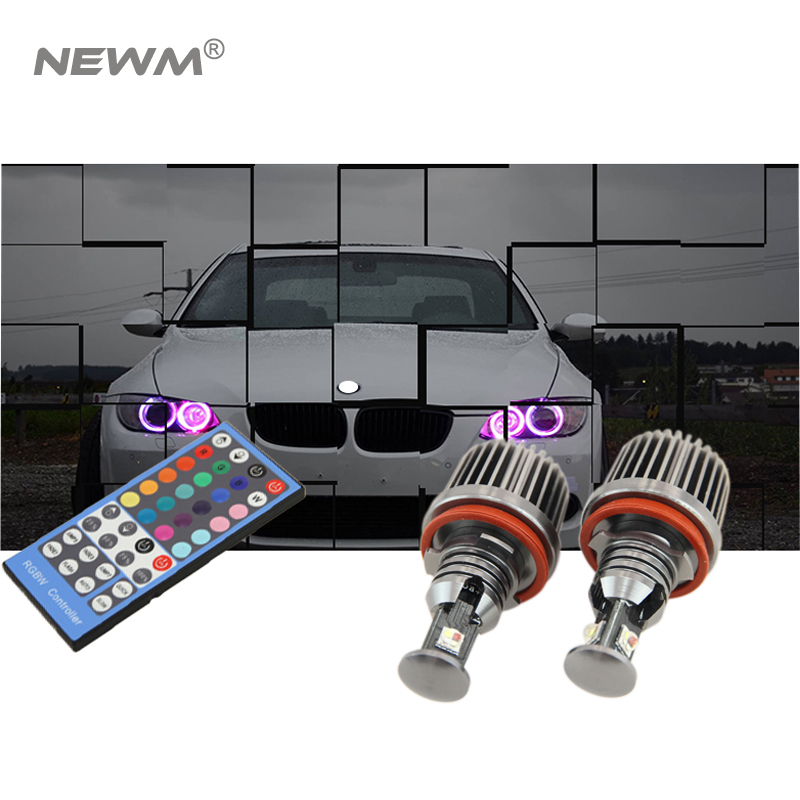 72W RGB Color Changing with Remote Controller Canbus H8 led angle eyes for BMW E87 E90 M3 E82 E92 M3 E60 X5 X6 E89 Z4 2pcs lot 24 smd car led license plate light lamp error free canbus function white 6000k for bmw e39 e60 e61 e70 e82 e90 e92