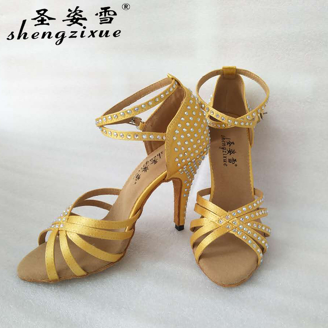 free shipping Shengzixue brand two color yellow and bronze shoes rhinestone  Latin dancing shoes and modern dancing shoes 4c807cc89c4f