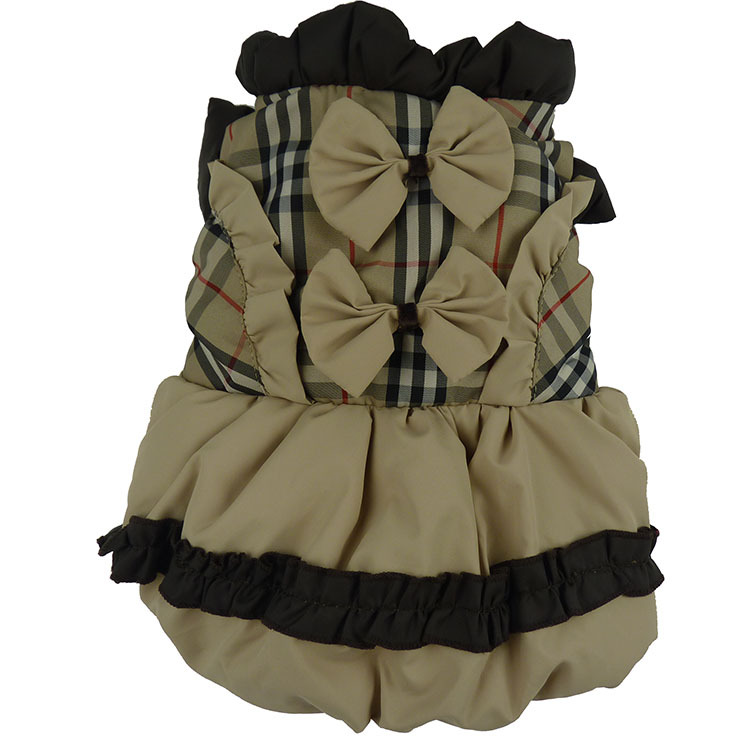 Классическое теплое клетчатое платье с принтом собак в шотландском стиле; зимняя одежда с подкладкой для домашних животных - Цвет: Цвет: желтый