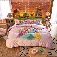 girls queen size bed set 4pc sanding autumn home textile disney cartoon princess bedding set kids winter bedspread 3D bed linens