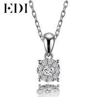 EDI Классический Настоящее Природный Бриллиантовая подвеска Цепочки и ожерелья для Для женщин 18 К твердого белого золота с бриллиантами с 16'