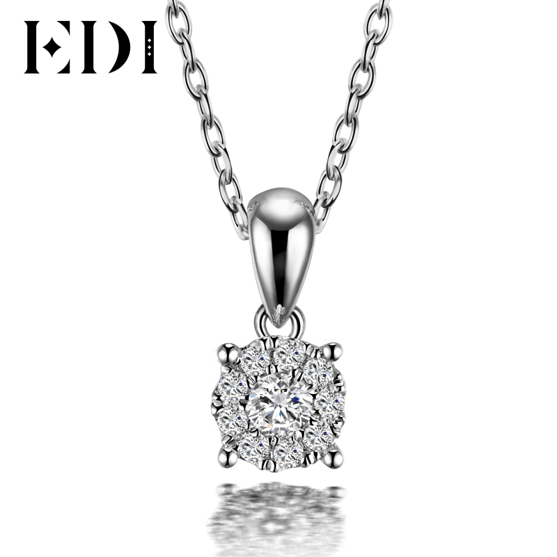 EDI Classic Real Natural Diamond Pendant Necklace For Women 18K Solid White Gold Diamond With 16' Necklace Chain Wedding Jewelry real 18k rose gold 1 2 carat ct def color lab grown moissanite diamond pendant necklace chain for women charm jewelry