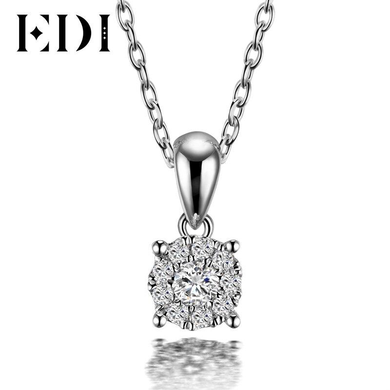 EDI Classic Real Natuurlijke Diamanten Hanger Ketting Voor Vrouwen 18K Solid White Gold Diamond Met 16' Ketting Ketting Wedding sieraden