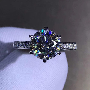 Image 2 - 925 แหวนเงินแท้ 1CT 2CT 3CT สไตล์คลาสสิก Moissanite แหวนเพชรงานแต่งงานครบรอบเครื่องประดับ GRA certifica