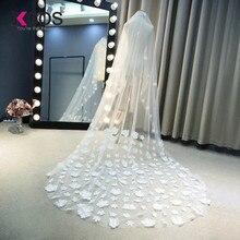 Фата для невесты белая аппликация Тюль 3 метра veu de noiva Длинные Свадебные вуали с цветами свадебные кружевные аксессуары свадебная вуаль