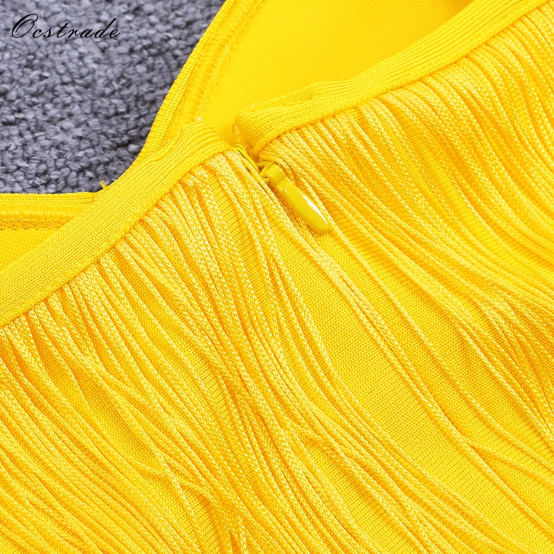 f3c711a154 US $38.15 15% OFF New 2018 High Quality Fashion Summer Sexy Maxi Dress  Evening Party Acid Yellow Satin Fringe Elegant Sexy Long Dress -in Dresses  from ...