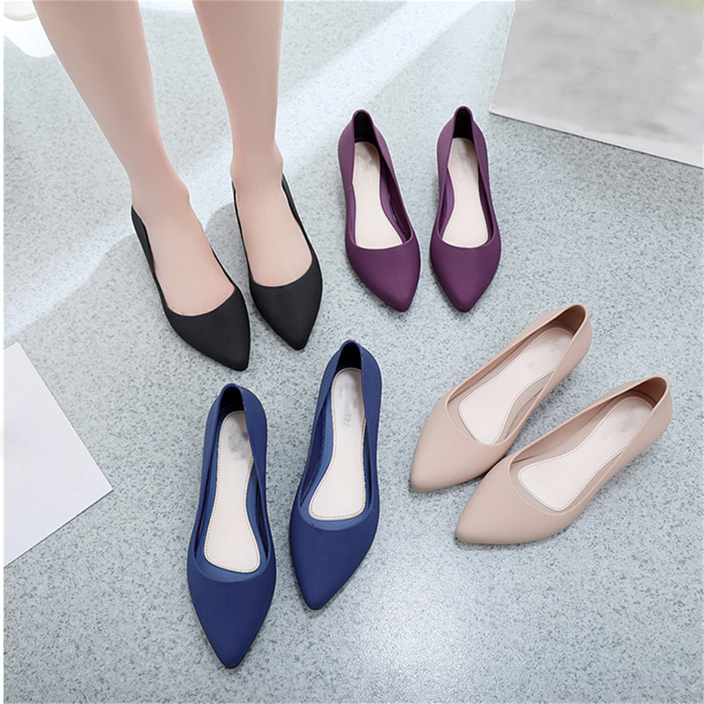 Women Pointed Shallow Mouth Single Shoes Simple Style Lady Frosted Surface Wedge Non-slip Work Shoes Solid Women Shoes 2019 New